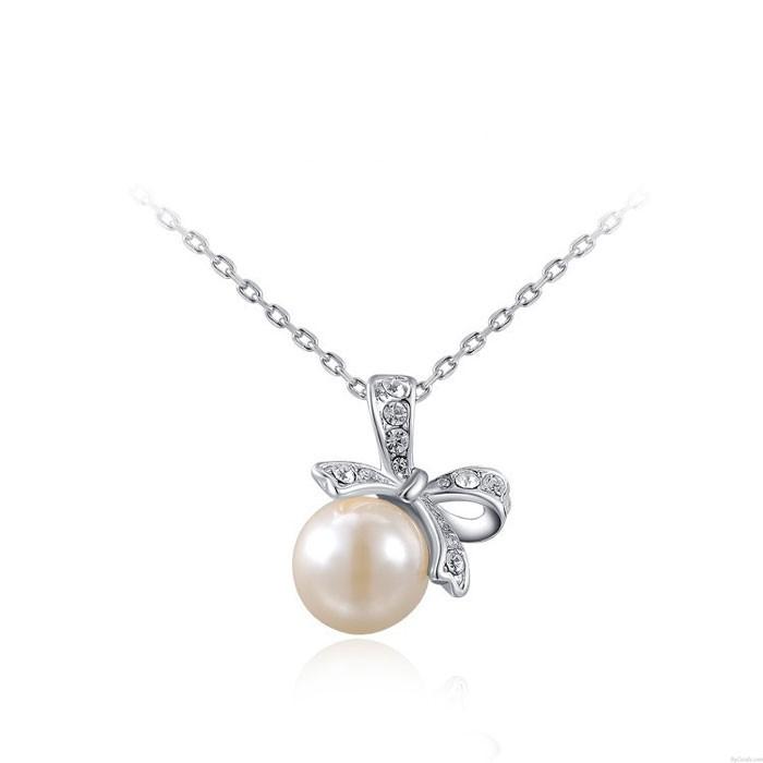 süße Inlay Kristall Bogen Perle Anhänger Halskette