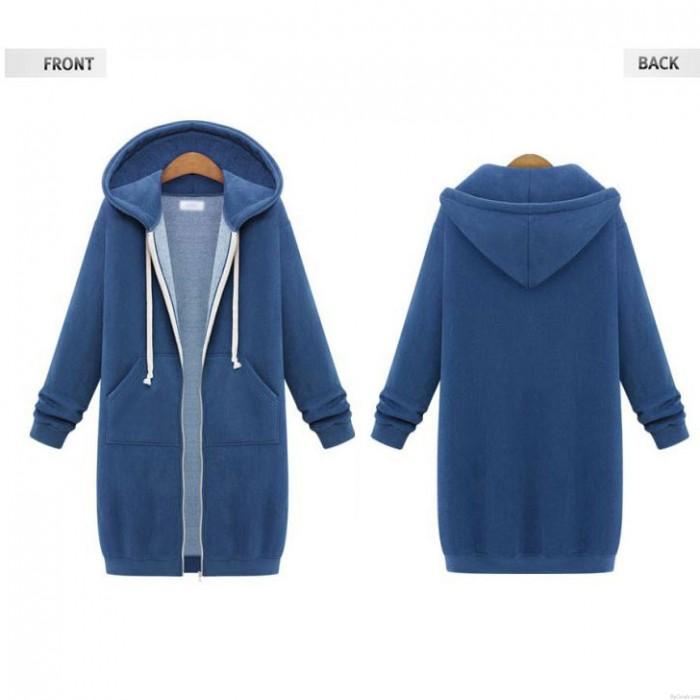 New Hooded langärmeligen Pullover Mantel langen Mantel dickeren Mantel Pullover
