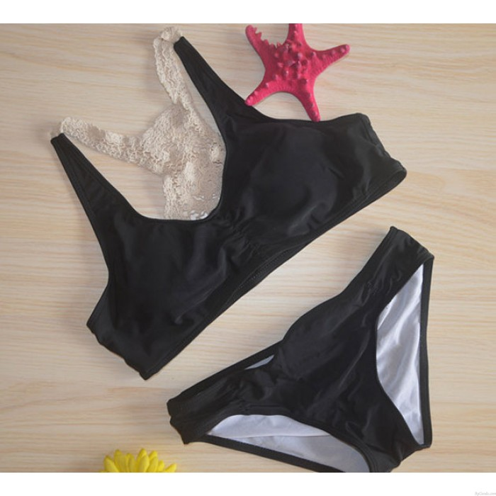Handgestrickter Badeanzug Spitze Bikini-Set Bademode Strand Badeanzug
