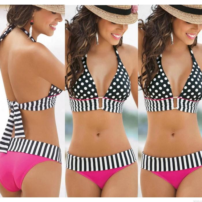 Vintage Dreieck Polka Dot Bikinis Set Push Up Bademode Strand Badeanzug