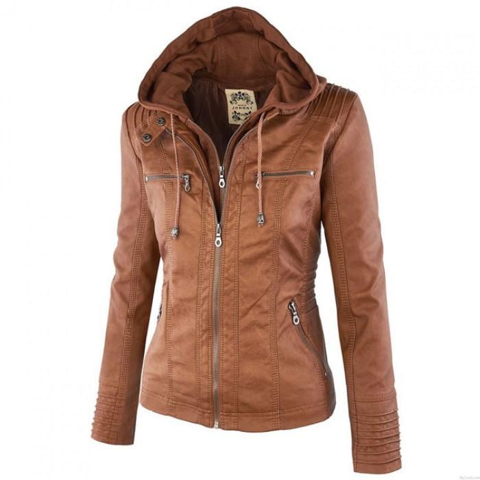 Lederjacke Mode Herbst Winter Kunstleder abnehmbare gefälschte zweiteilige Kapuze Reißverschluss Jacken Mantel Lederbekleidung
