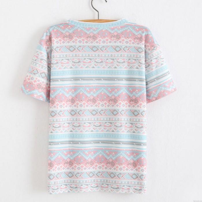 Schneeflocken und Blumen Gedruckt Baumwolle T-Shirt in den Völkern