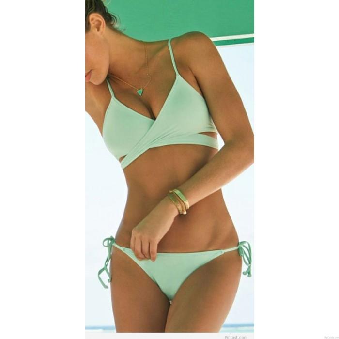 Neu Minze Grün Bandage Hochdrücken Bikini Set Gepolstert BH Triangle Badeanzug