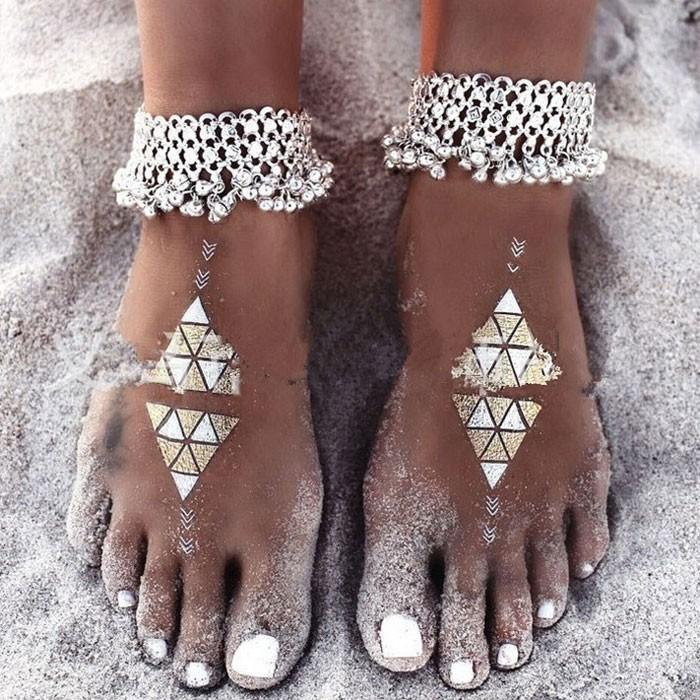 Mode Böhmen Fußschmuck Kette Folk Armband Quasten Glocke Frauen Fußkettchen