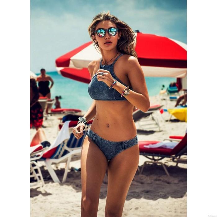 Triangle Sexy Crop Top Bikinis Set Push Up Cowboy Bademode Strand Badeanzug