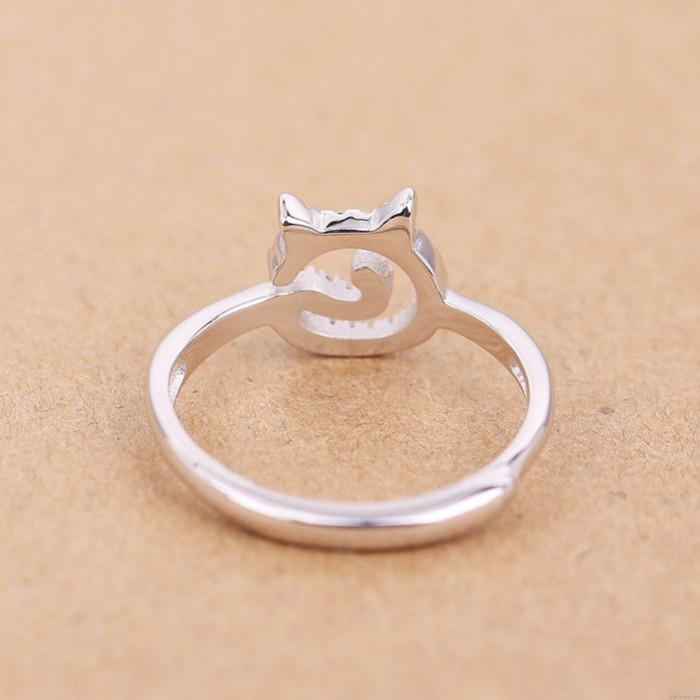 Cute Kitty Gesicht Silber Kleine Zirkon Kätzchen Offenen Ring