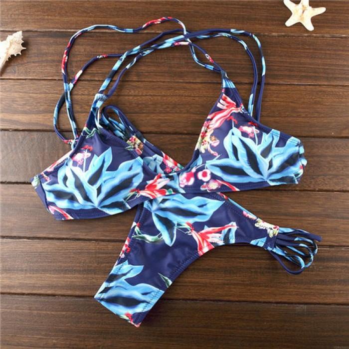 Drucken Bikini Blätter Bandage Dreieck Badeanzüge Bikini Set für Frauen