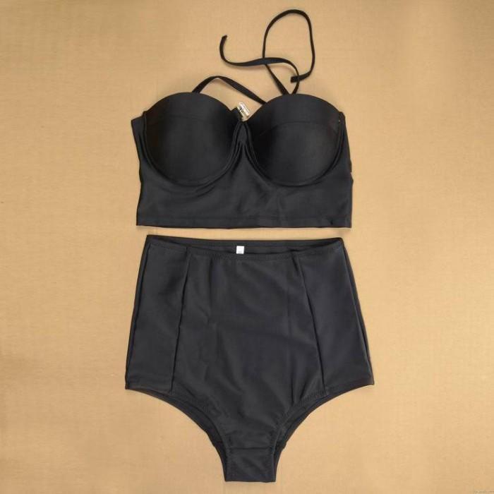 Mit hoher Taille und Schwarz-Verband-Push-up-Bikini-Badeanzug-Badebekleidung