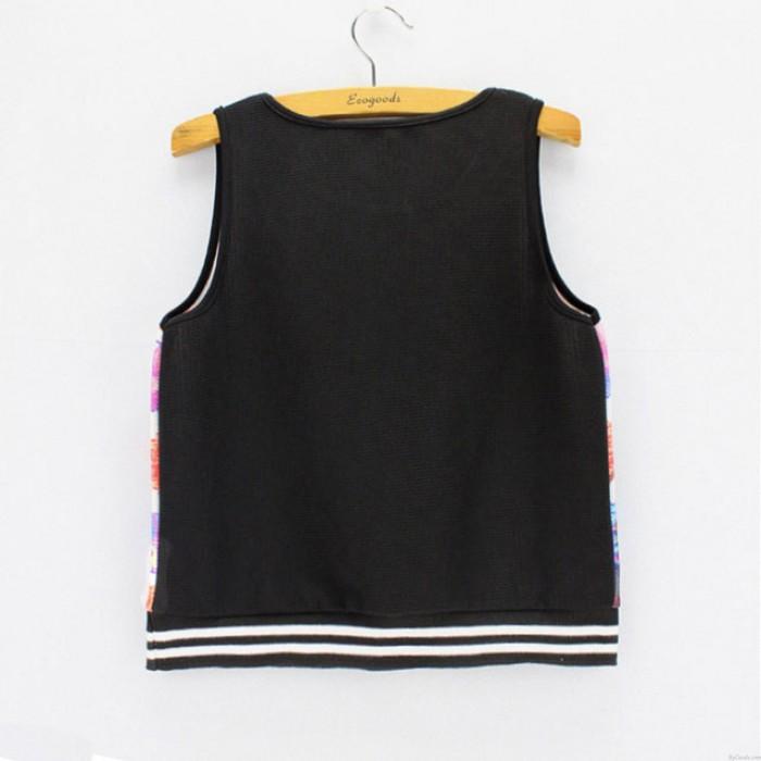 Fashion Leaf Print Ärmelloses T-Shirt Frauen Sommer Weste