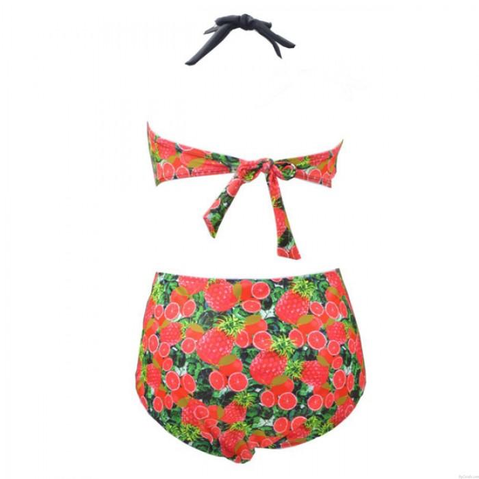 Ananas Printed Kontrastfarbe Bikini plus Dünger Badeanzug-Badebekleidung