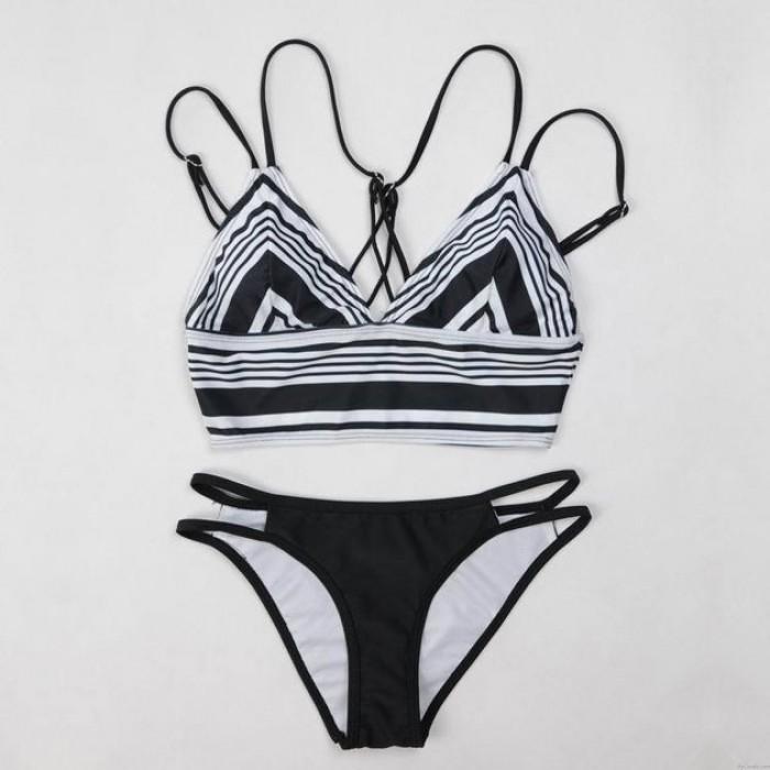 Schwarz Weiß Gestreift Sexy Bikini-Badeanzug-Badebekleidung