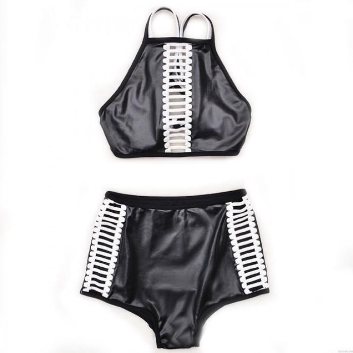 Mode Schwarz Low-Waist Bandage Bikini Set Badeanzug Bademode