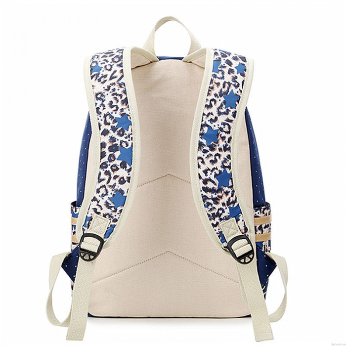 Neu Hochschule Stil Leopard Stitching Welle Punktdruck Leinwand Beiläufig Rucksack Schulranzen