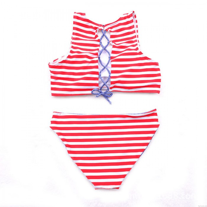 Low-Tail Striped Back Strap Klassischer Bikini Set Badeanzug Bademode Badeanzug