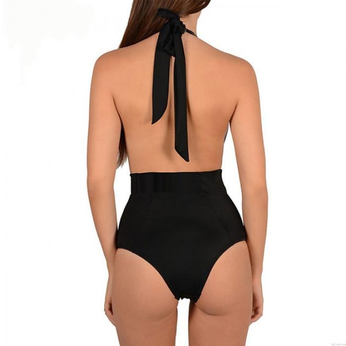 Applique Mesh Halfter Bandage Bikini Set Badeanzug Bademode Einteilige Sexy Badeanzug