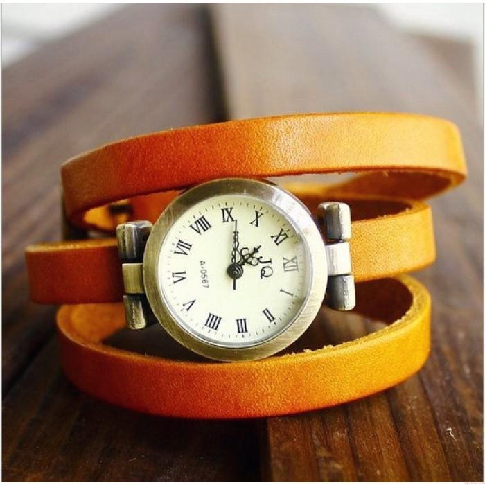 Retro Drei Runden Wound Leather Strap Vintage Uhr
