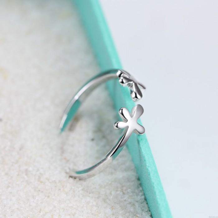 Kreative Frische Blumen Sterling Silber Ring