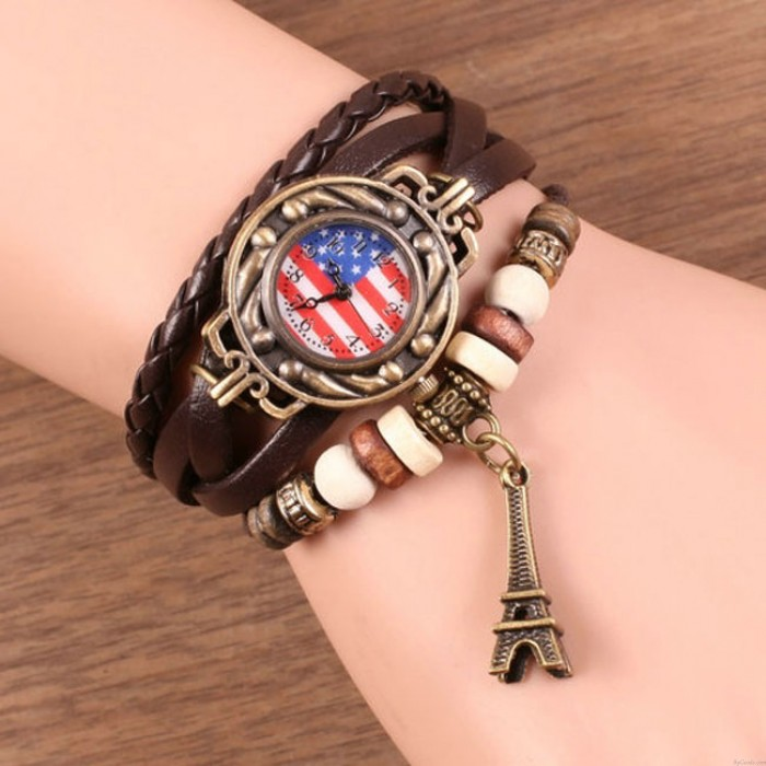 Retro Seil Weben Eiffelturm Armband Uhr American Flag Lederband Armbanduhren
