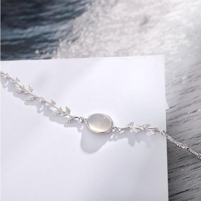 Unique Lover Present Freundin Geschenk Damen Armband Moonstone Leaves Silber Armband