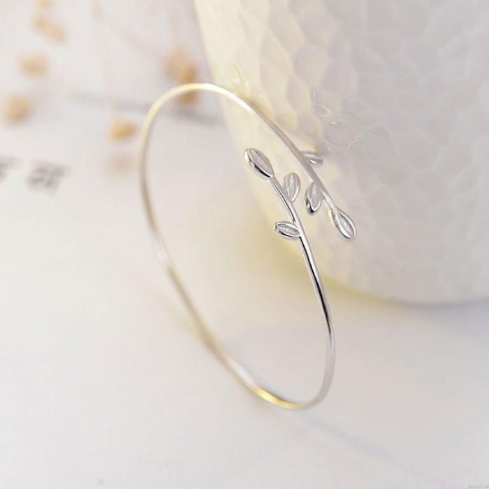 Frische Blätter Freundin Geschenk Blatt Frauen öffnen Armband Silber Armband