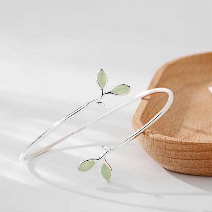 Nettes einzigartiges Geschenk-Blatt-Frauen-geöffnetes Armband-Grün-Opal-Blatt-Silber-geöffnetes Armband