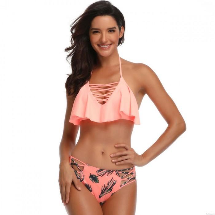 Sexy Cross Strap Frau Bikini New Banana Leaves Print Rüschen Sling Sommer Badeanzug
