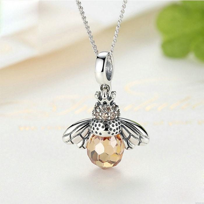 Einzigartig Kristall Biene Anhänger Tier Halskette Silber Frauen Halskette