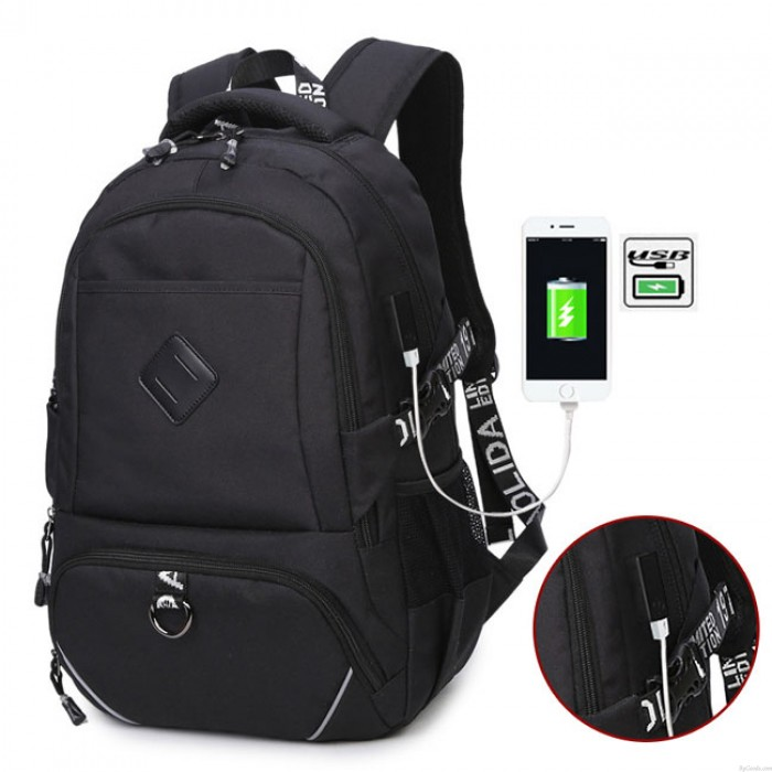 Freizeit USB-Schnittstelle Kofferraum Einfach Reiserucksack Sport Laptoptasche Großer Rucksack