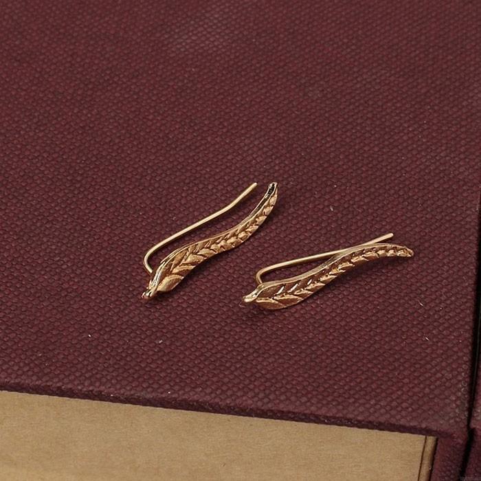 Freizeit Metall Baum Blatt Ohrringe Ohrclip Blätter Ohrstecker