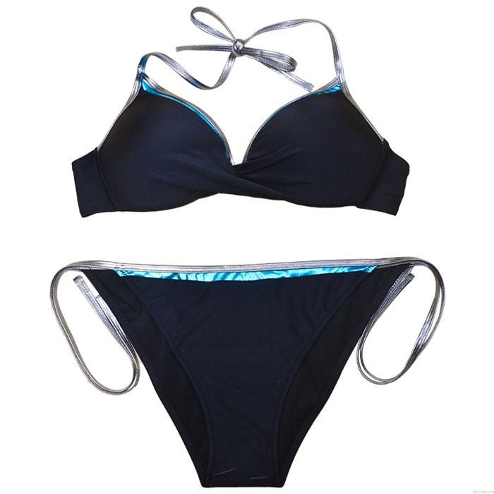 Sexy Neu Kante Kontrastfarbener Bikini Schlinge Binde Dame Sommer Badeanzug