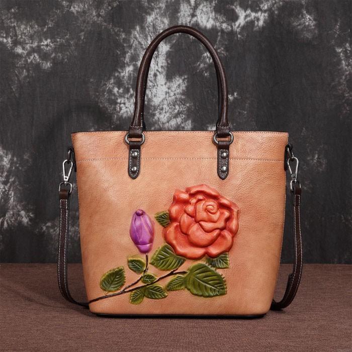 Retro 3D Blumenblätter Rose Große Original handgefertigte Leder Damen Handtasche Umhängetasche