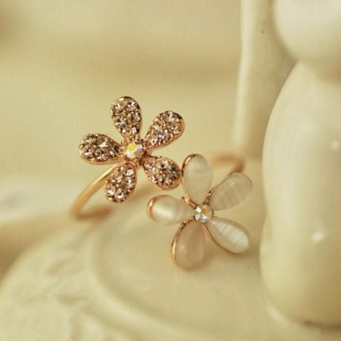 Opal Strass Gänseblümchen Blume Öffnen Ring