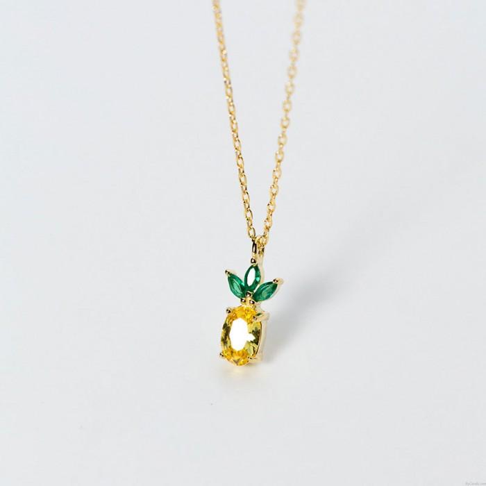 Niedliche Ananas Anhänger Goldene Krone Früchte 925 Silber Kristallringe Ohrringe Ohrstecker Frauen Halskette
