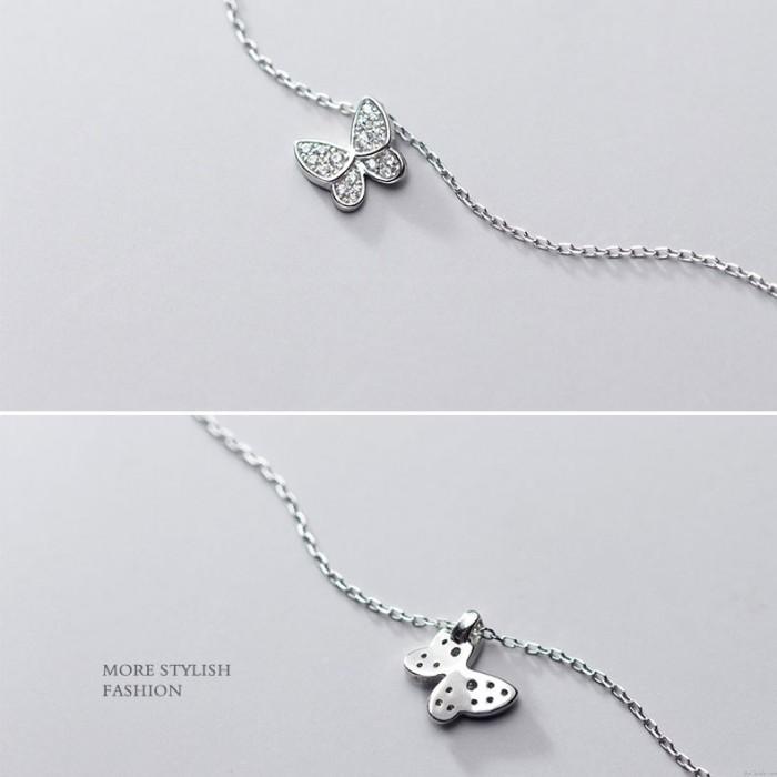 Nettes romantisches Geschenk Tierschmuck Mini Schmetterling Anhänger 925 Silber Halskette Mini