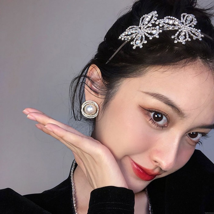 Mode Perle Kristall Runde AAA Qualität Ohrringe für Frauen Shining Ohrring Ohrstecker