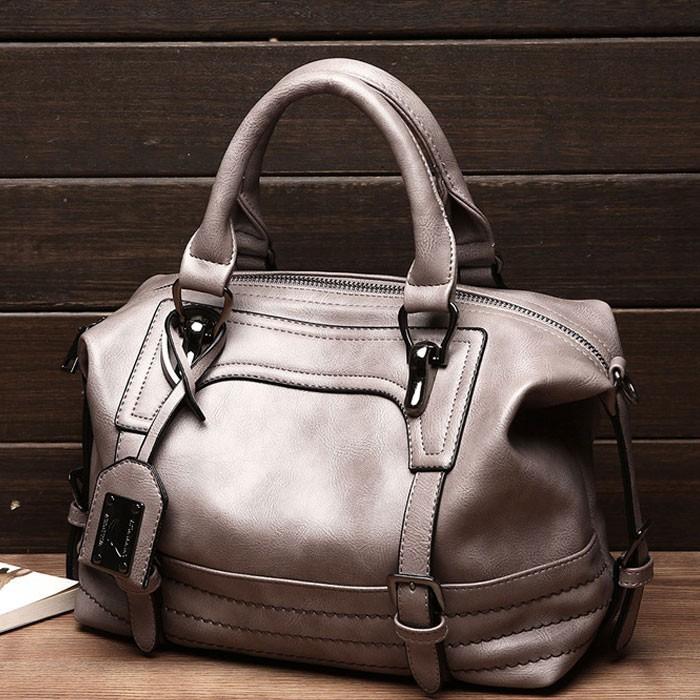 Retro Doppelschnalle Dekor Weiche tragbare Boston-Tasche Elegante weibliche Handtasche Robuste Umhängetasche