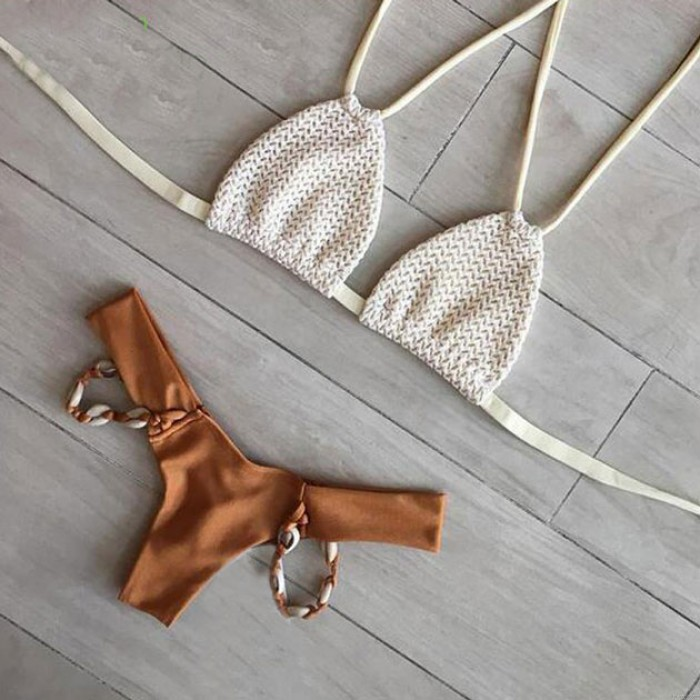 Strand Wampum Sexy Bandage Bikini Set Badeanzug Verband Bademode Badeanzug