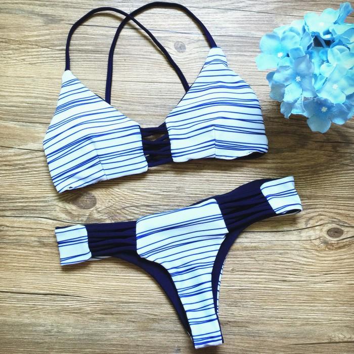 Mode Streifen Cross Straps Bikini Badeanzug Bademode