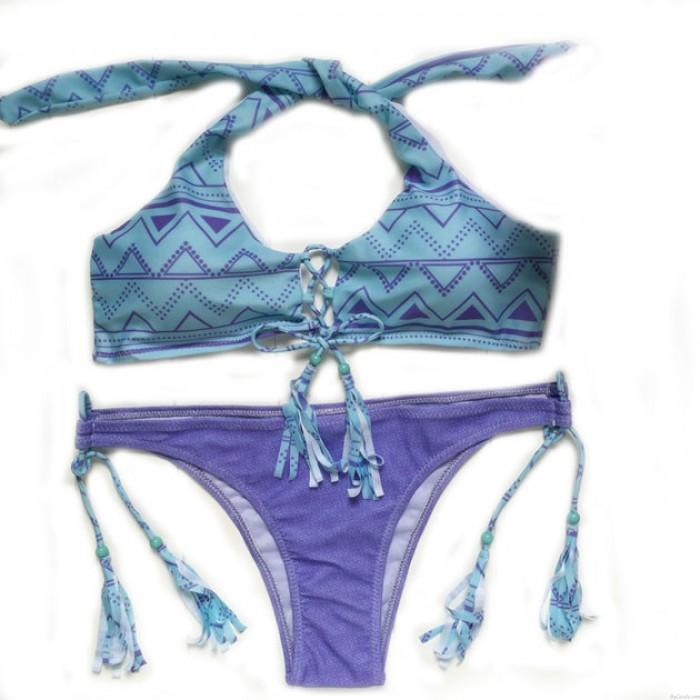 Dreieckige Quasten Neckholder Bikini Badeanzug Bademode