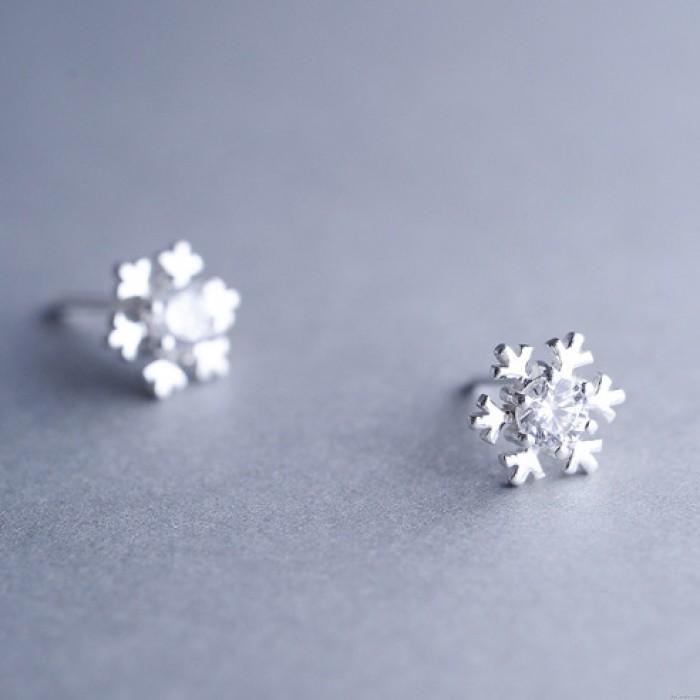 Mode Silber Diamant-eingefasste Schneeflocke netter glänzender Winter Frauen Ohrstecker