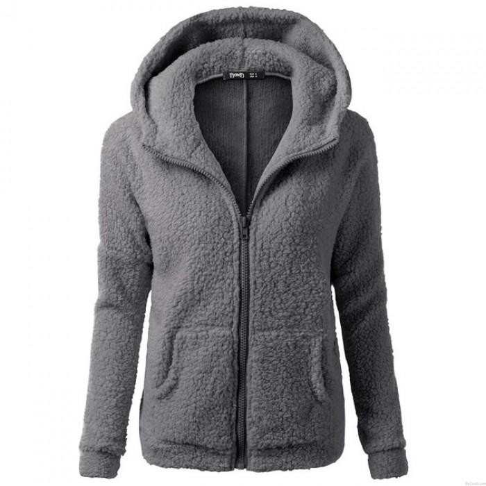 Reine Farbe Pullover Warme Kapuzenpulli Winter Lambswool Reißverschluss Outwear Hoodies Fluff Mantel