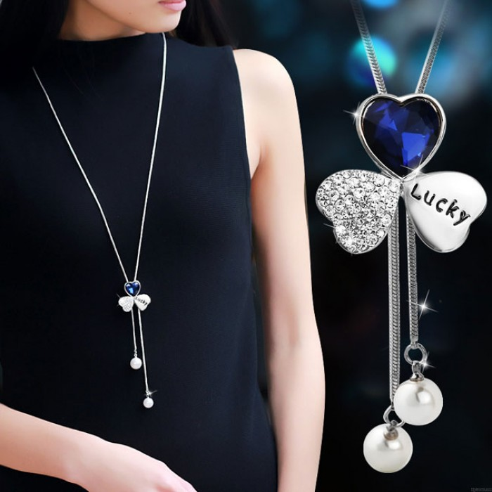Mode Kleeblatt Form Kristall Glück Pullover Kette Halskette Diamant-umrandeten Kunststoff Perle Anhänger Halskette