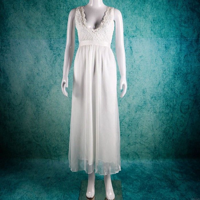 Sexy Frauen lange V-Ausschnitt Abendkleider Spitze Party Hochzeit Rückenfreies Kleid