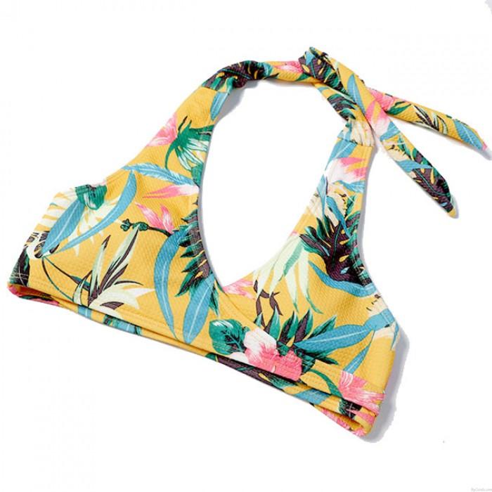 Sexy gelbe Blume verlässt Frauen Sling Bikinis Badeanzug