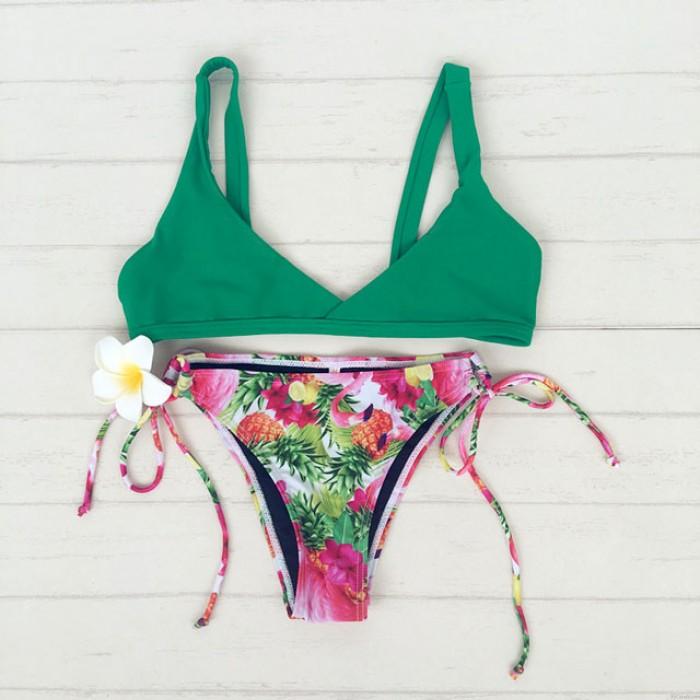 Kleine frische Blumendruck Bikini Split Badeanzug Sommer Bathingsuit