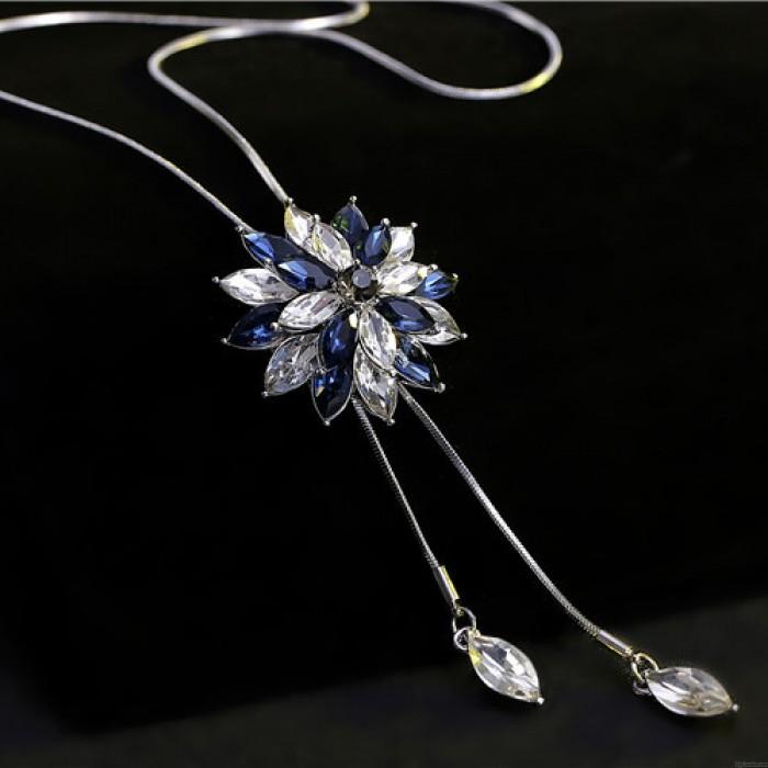Mode Kristall Strass Stratified Blume Anhänger Halskette Pullover Kette Halskette