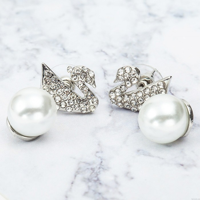 Art- und Weiseschwan-hängende Perlen-Ohr-Tropfen-glänzende Tierohrring-Bolzen