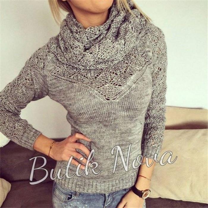 Mode-Frauen aushöhlen ganze Farbe Heaps Kragen Pullover