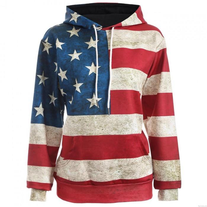 Retro USA-Flagge Sterne Streifen Mit Kapuze Jacke Damen Beiläufig Zur Seite fahren Sweatshirt