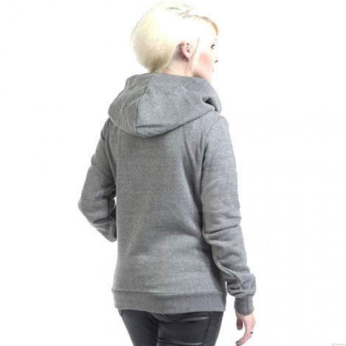 Einfache drehen-unten Kragen Hoodie Pullover Mantel Herbst Frauen dicke Jacke Pullover